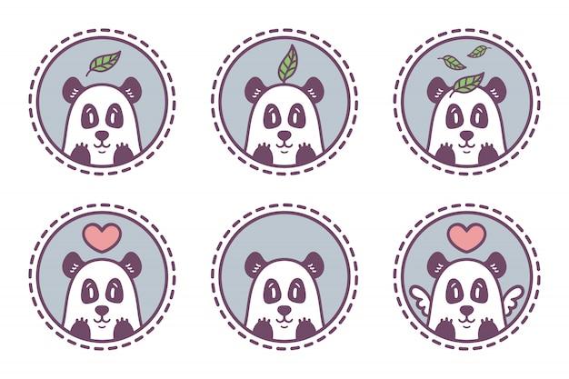 Ensemble de la collection d'emblèmes de panda