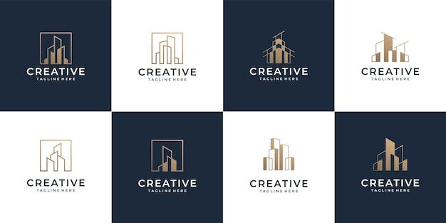Ensemble de collection d'entreprise de logo d'architecture d'or