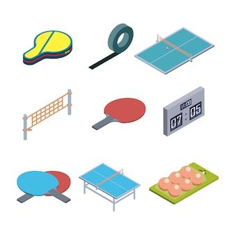 Ensemble de collection d'équipement de jeu de tennis de table