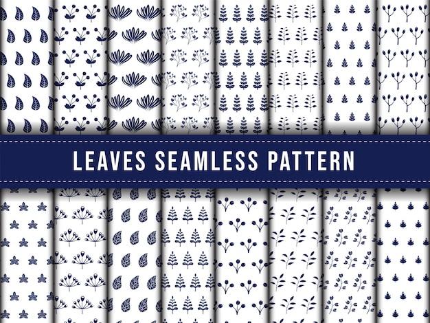 Ensemble de collection de feuilles feuille transparente motif bleu couleur blanche.