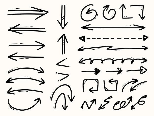 Ensemble de collection de flèches dessin à la main