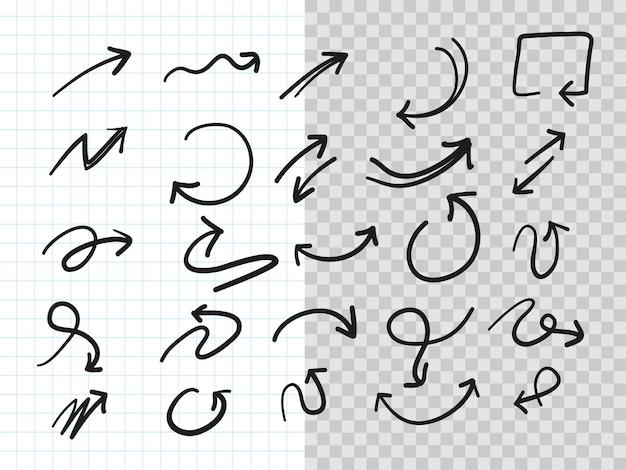 Ensemble de collection de flèches doodle dessinés à la main