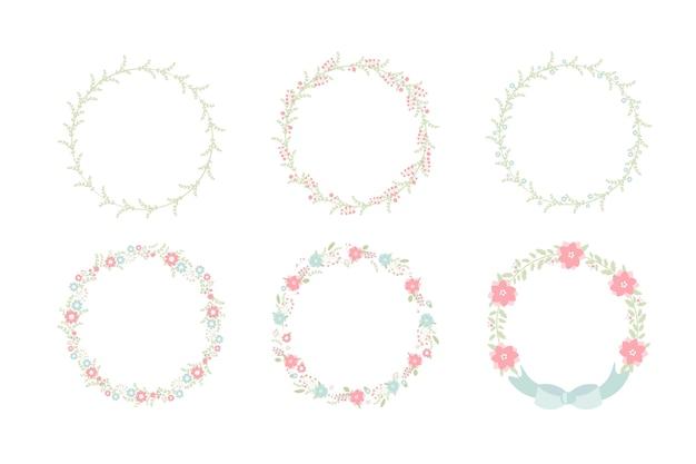 Ensemble de collection de fleurs minime couronne de fleurs pastel douce