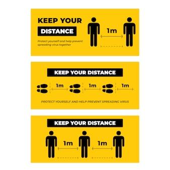 Ensemble de collection de garder vos signes de distance