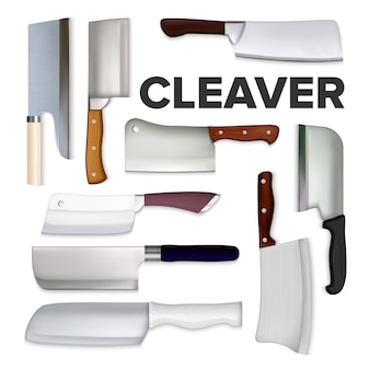 Ensemble de collection de grands couteaux à viande cleaver