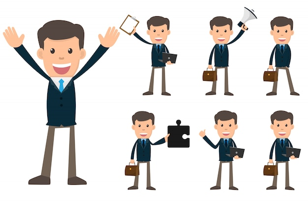 Ensemble de collection d'homme d'affaires montrant différents gestes