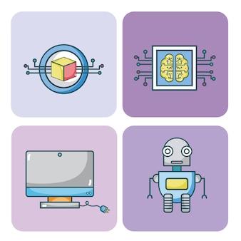 Ensemble de collection d'icônes de l'intelligence artificielle