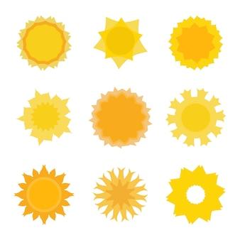 Ensemble de collection d'icônes de soleil isolé sur blanc