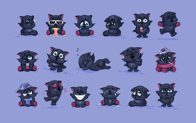 Ensemble collection d'illustrations d'illustration isolé emoji personnage dessin animé chat noir autocollants émoticônes avec différentes émotions