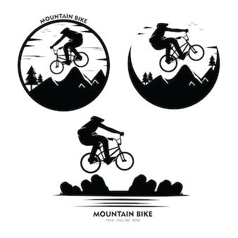 Ensemble de collection d'illustrations de silhouettes de vélo de montagne