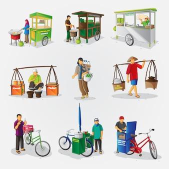Ensemble De Collection D'illustrations Vectorielles De Cuisine De Rue Indonésienne Vecteur Premium