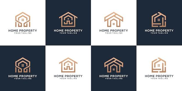 Ensemble de collection immobilier style linéaire de propriété de maison minimaliste
