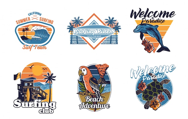 Ensemble collection d'impression vintage summer hawaii california paradise surf icônes rétro logo avec mer océan animaux vague vue palmiers voyage plage surfeur pour t shirt autocollant patch mode illustration