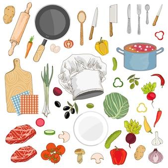 Ensemble de collection d'ingrédients alimentaires