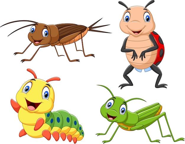 Ensemble de collection d'insectes de dessin animé