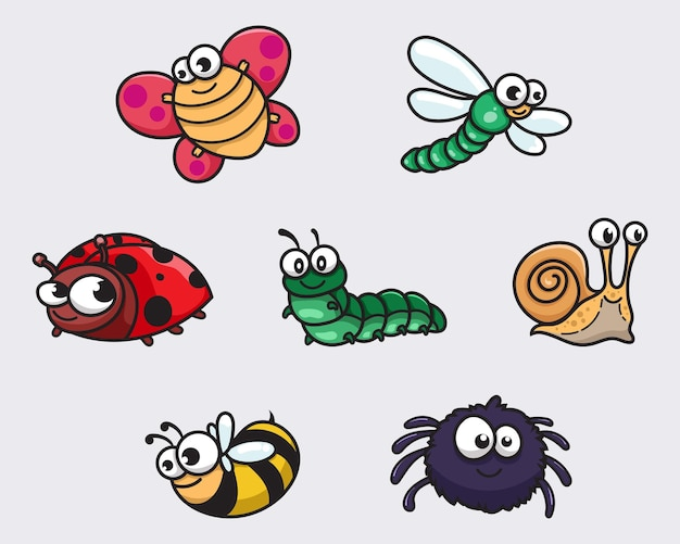 Ensemble de collection d'insectes drôles de dessin animé