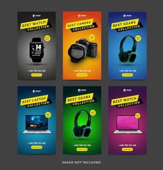 Ensemble De Collection Instagram Stories Gadgets Vecteur Premium