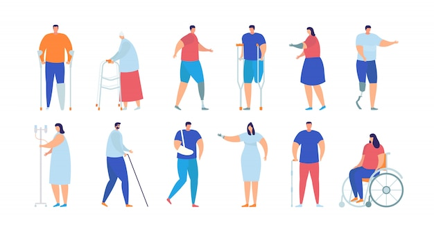 Ensemble de collection isolée illustration de personnes handicapées, blessés et malades.