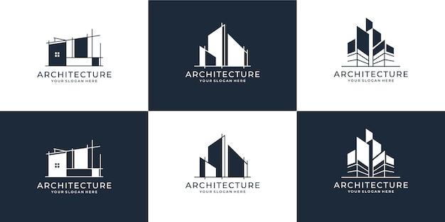 Ensemble de collection de jeu d'architecture de bâtiment