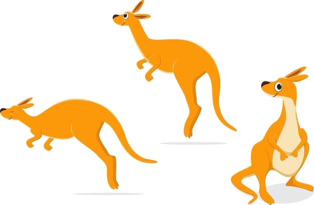 Ensemble de collection de kangourou de bande dessinée.