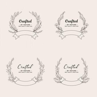 Ensemble de collection de logo de couronne botanique dessiné à la main