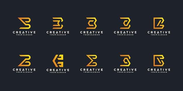 Ensemble de collection de logo créatif lettre b vecteur premium