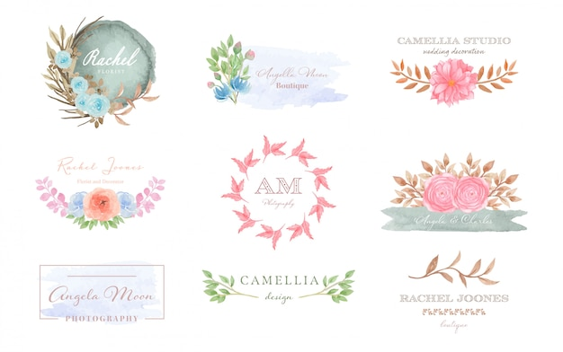 Ensemble de collection de logo floral premade avec éclaboussures aquarelle
