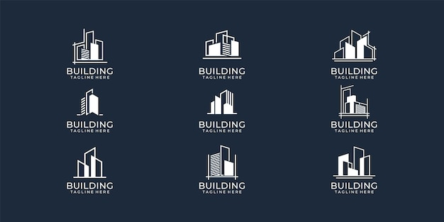 Ensemble de collection de logo immobilier bâtiment moderne.
