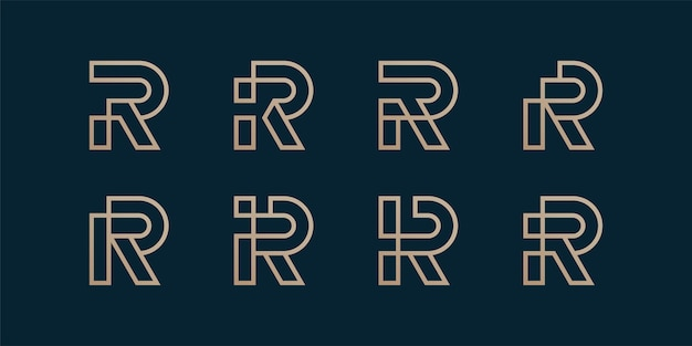 Ensemble de collection de logo de lettre avec le concept initial d'art ligne r