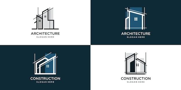Ensemble de collection de logos de construction avec un concept moderne et unique vecteur premium