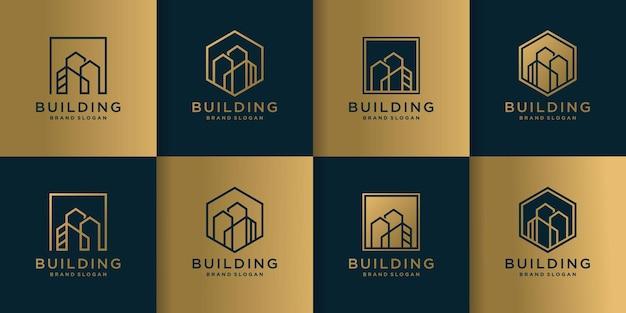 Ensemble de collection de logos de construction avec un style d'art en ligne créatif vecteur premium