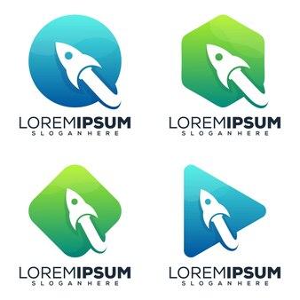 Ensemble de collection de logos de fusée