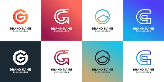 Ensemble de collection de logos lettre g avec concept d'élément créatif vecteur premium