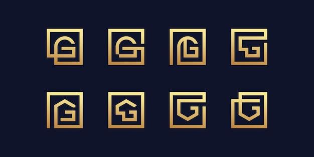 Ensemble de collection de logos lettre g avec style doré vecteur premium