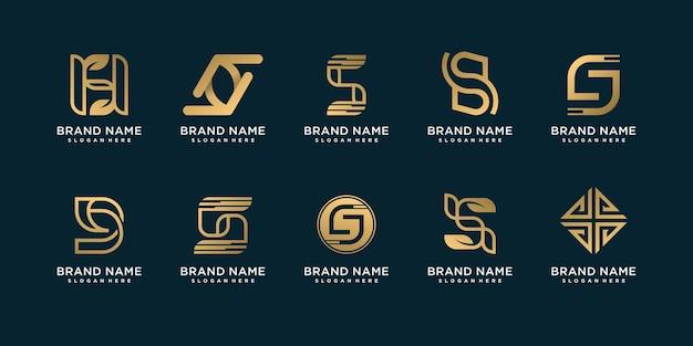 Ensemble de collection de logos de lettre s avec concept créatif d'or vecteur premium