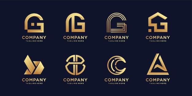 Ensemble de collection de logos de lettres avec élément créatif moderne vecteur premium