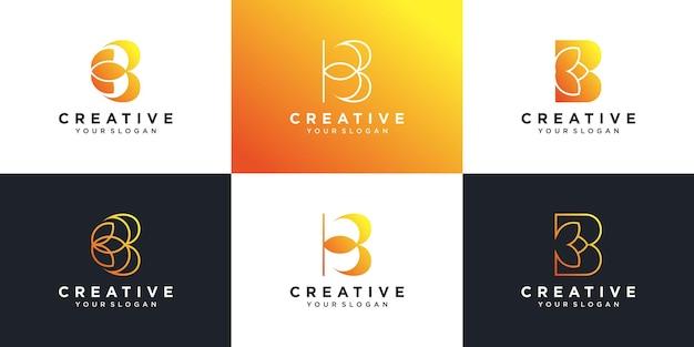 Ensemble de collection de logos de lettres avec l'initiale b avec un concept floral créatif vecteur premium
