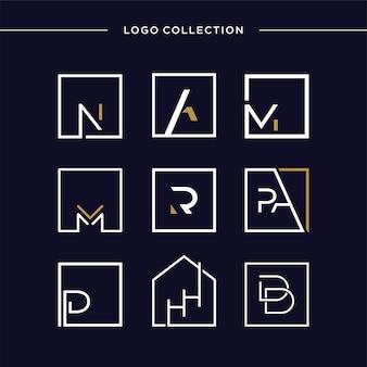 Ensemble de collection de logos avec modèle de logo d'entreprise de lettre de concept initial carré vecteur premium