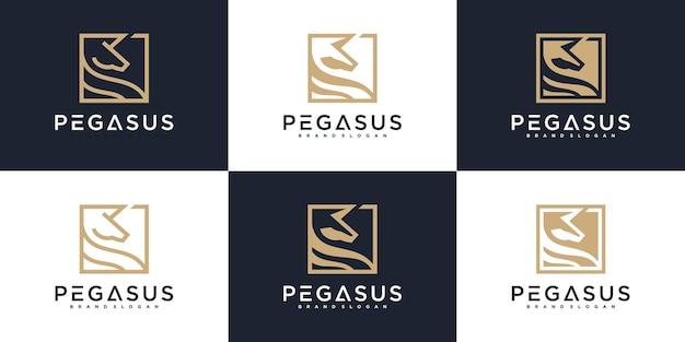 Ensemble de la collection de logos pegasus avec concept de contour cool, nature, parc, cheval et carte de visite vecteur premium