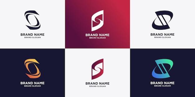 Ensemble de collection de logos s avec un design d'élément moderne vecteur premium