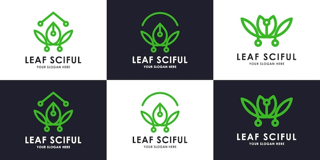 Ensemble de collection de logos de technologie de feuille de beauté