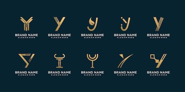 Ensemble de collection de logos y avec un style abstrait doré vecteur premium