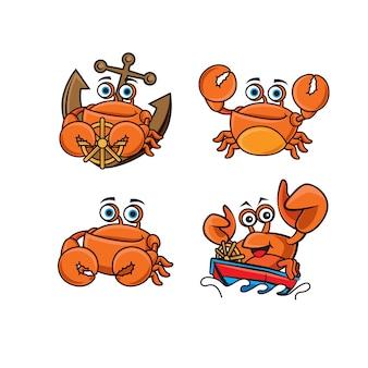 Ensemble de collection de mascotte de crabe mignon de bande dessinée