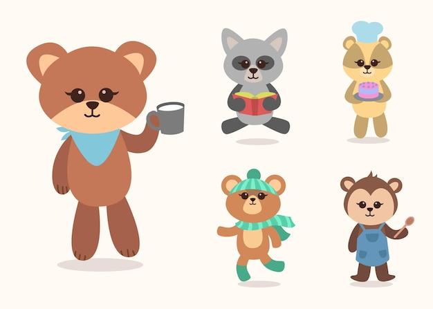 Ensemble de collection de mascottes de personnages de dessins animés animaux mignons, illustration colorée plate