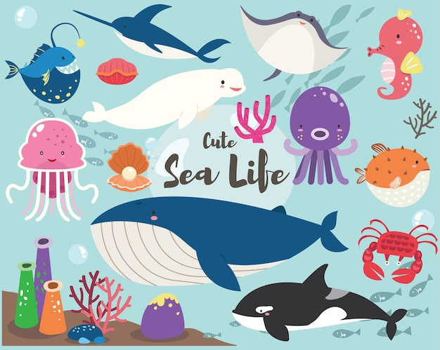 Ensemble de collection mignon sea life