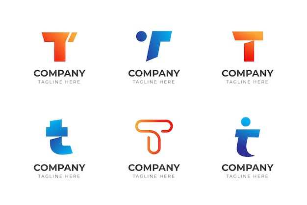 Ensemble de collection de modèles de conception de logo créatif lettre t