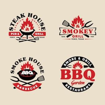 Ensemble de collection de modèles de logo emblème badge bbq