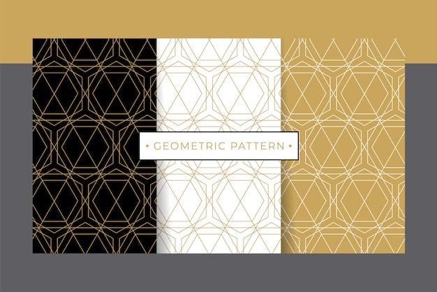 Ensemble de collection motif géométrique de luxe or.