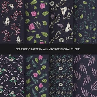 Ensemble de collection de motifs floraux vintage en tissu avec un fond sombre