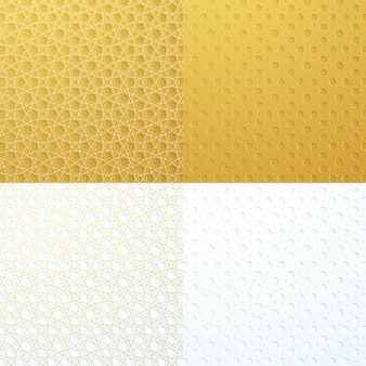 Ensemble de collection de motifs géométriques islamiques de luxe blanc or